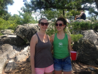 Jess and Clara on a mountaintop in the Berkshires - Pillow Trip 2014!